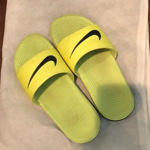 Nike Shoes - Nike fluorescent yellow slides kids 5Y